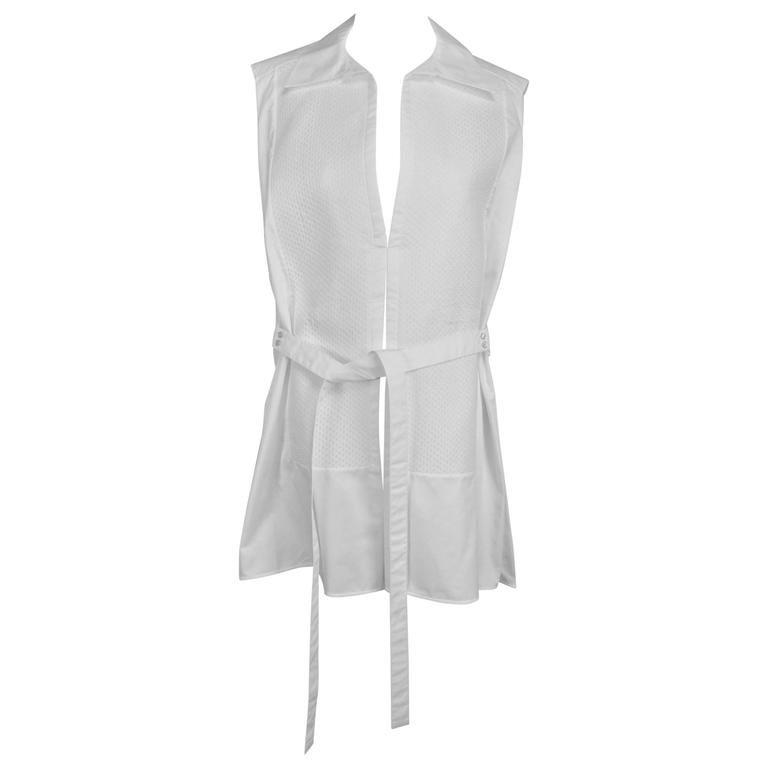 Balenciaga sleeveless crisp white cotton pique belted tunic 38