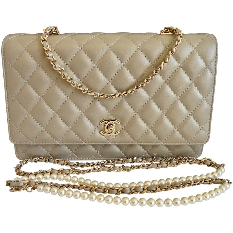Chanel Fantasy Pearls Flap Bag Gold with  Lt Gold Hardware 1