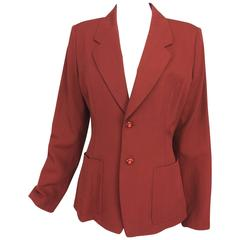 Matsuda brick red gabardine single breasted patch pocket blazer jacket 1980s
