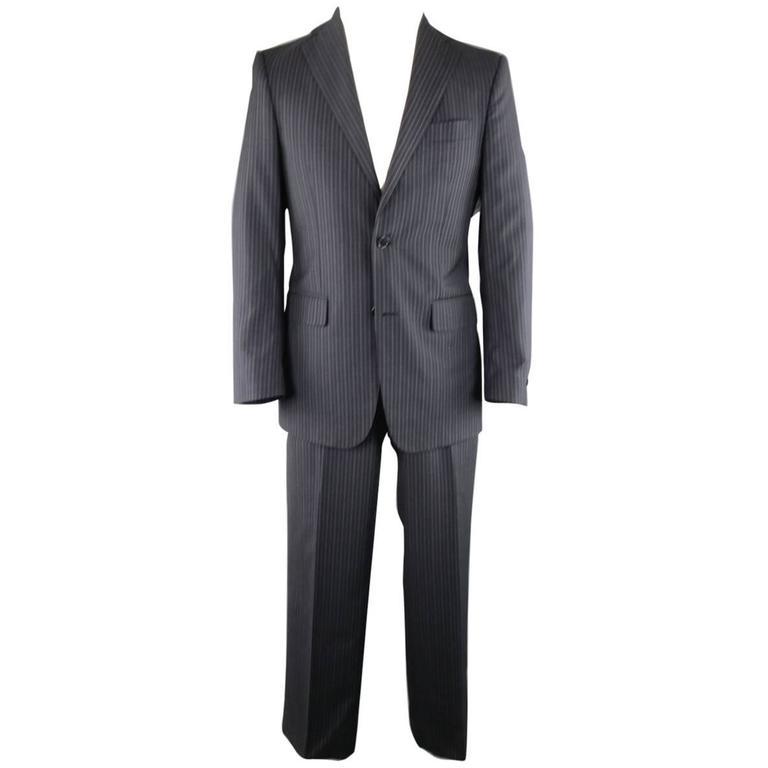 Men's SALVATORE FERRAGAMO 38 Regular Navy Pinstripe Wool Notch Lapel Suit