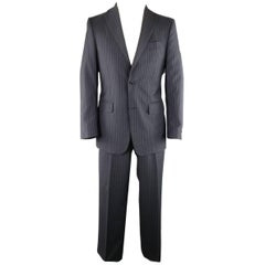 SALVATORE FERRAGAMO US 38 / IT 48 Regular Navy Pinstripe Wool Notch Lapel Suit