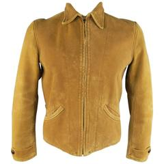 Men's LEVI'S VINTAGE 38 Tan Distressed Sueded Leather Collared Bomber Jacket