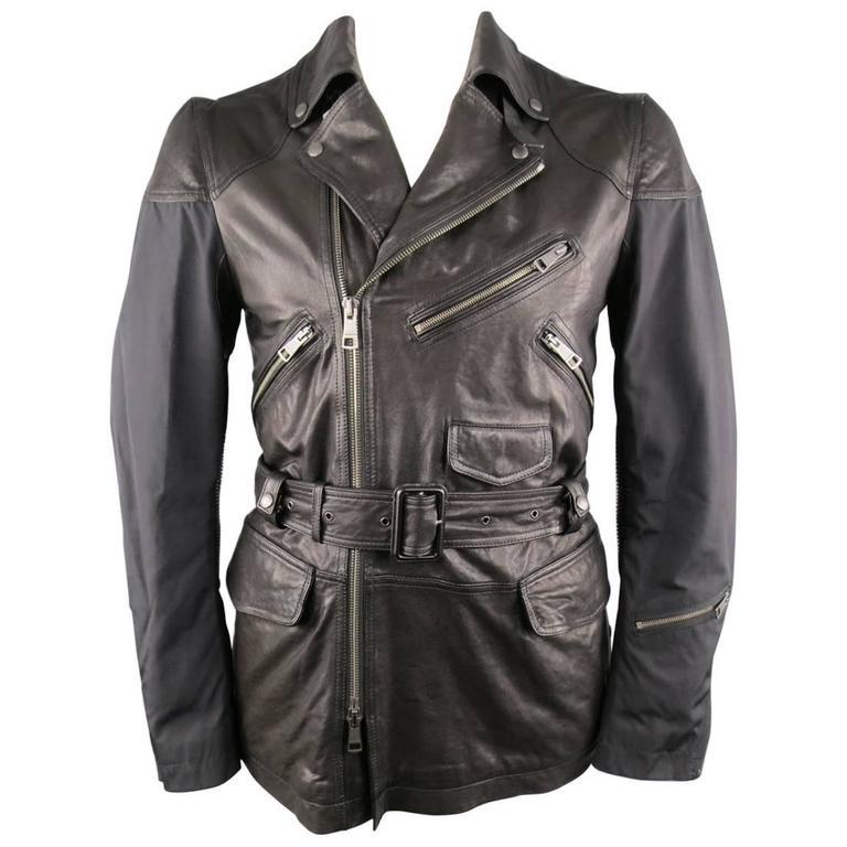 Men's BURBERRY BRIT 40 Black Nylon & Leather Biker Style Trench Jacket