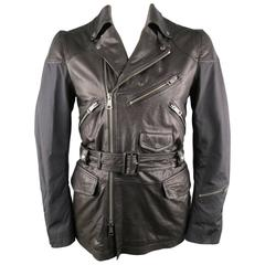 Men's BURBERRY BRIT Jacket 40 Black Nylon & Leather Biker Style Trench Coat