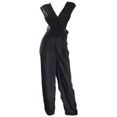Avant Garde Vintage Shelli Segal 1990s Black + Brown + White Polka Dot Jumpsuit