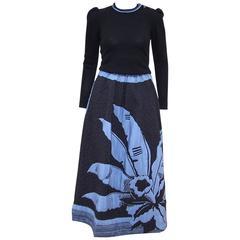 Graphic 1970's Michaele Vollbracht Silk Quilted Skirt & Cashmere Sweater Set