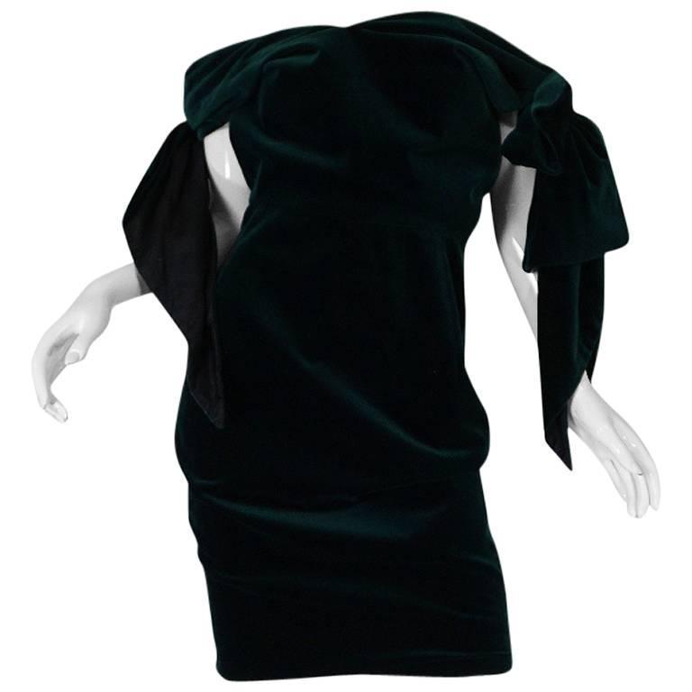 Dramatic 1980s Antony Price Bottle Green Velvet Dress 1