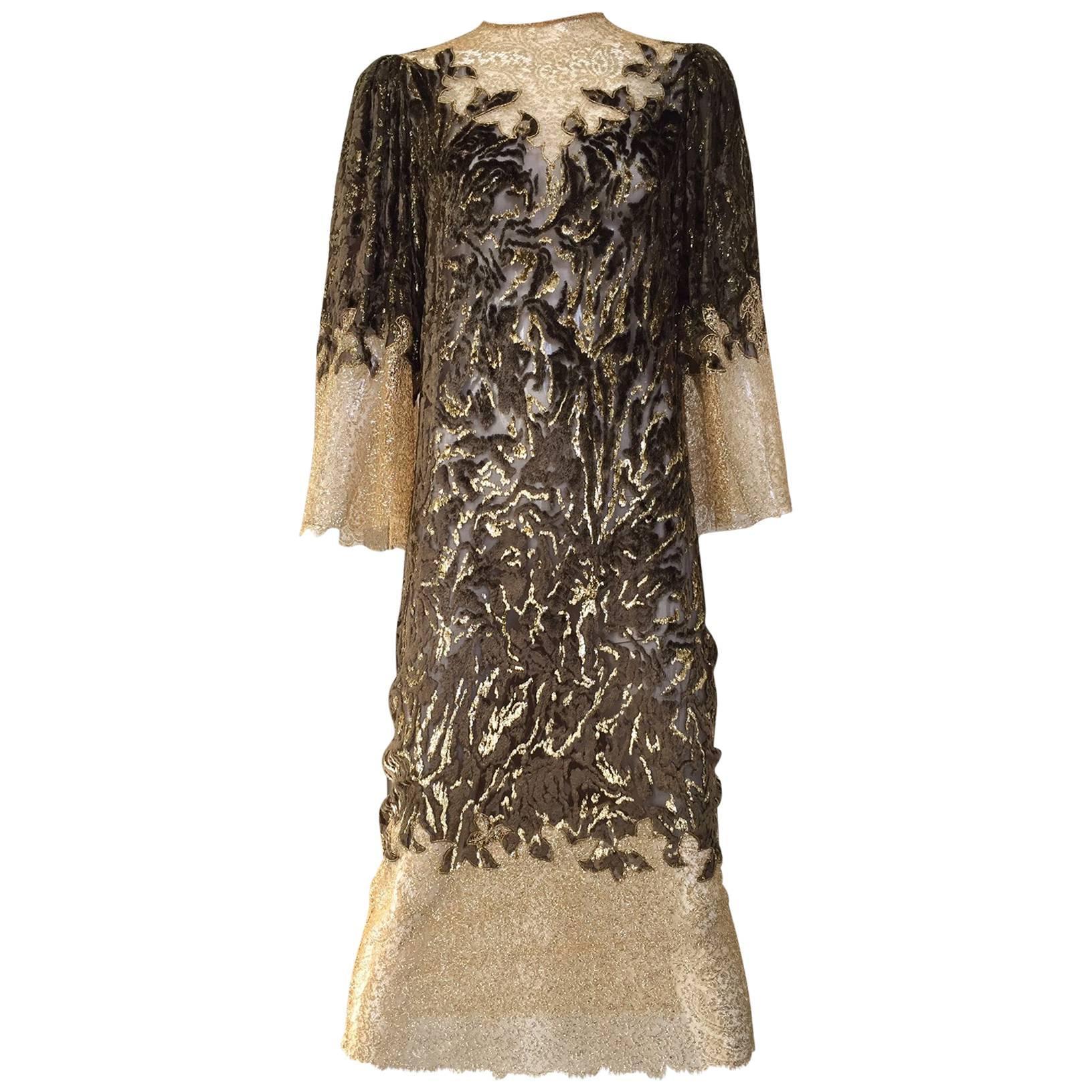 Vintage Oscar De La Renta velvet devore gold lace dress