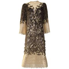 Oscar De La Renta velvet devore gold lace dress