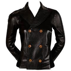 Comme Des Garcons leather jacket with knit back, 2002