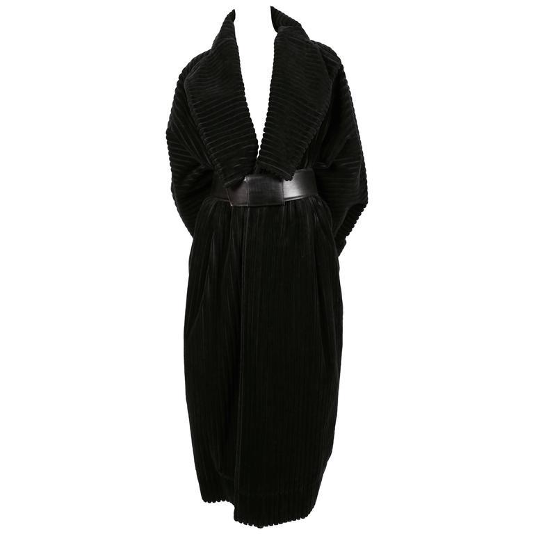 1984 AZZZEDINE ALAIA black elephant cord coat For Sale