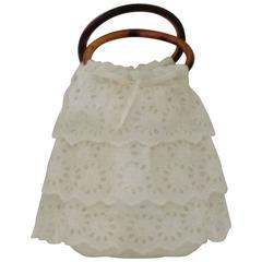 La Perla White Broderie Anglaise Bag NWOT