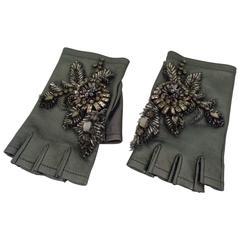 Alberta Ferretti Grey with Swarovski Gloves NWOT