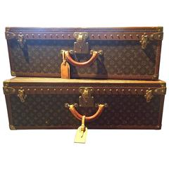 Monogramed Vintage pair of Louis Vuitton Alzer 80 Suitcases