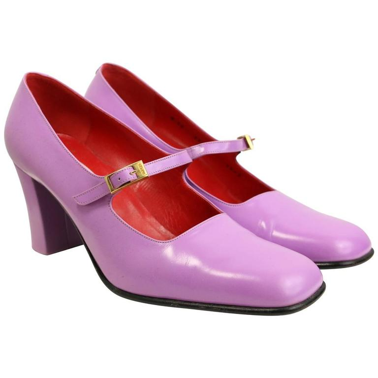 Celine Purple Leather Mary Jane Shoes