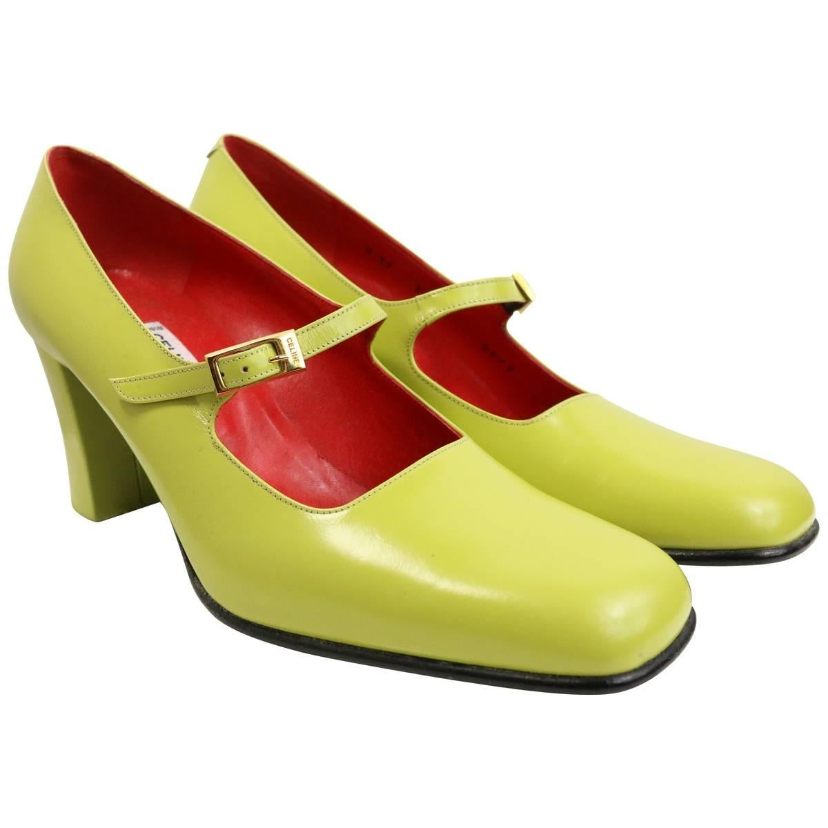 Celine Green Leather Mary Jane Shoes