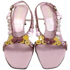 Prada Purple Metallic Leather Sequins Sandals