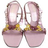 Prada Purple Metallic Leather Sequins Sandals