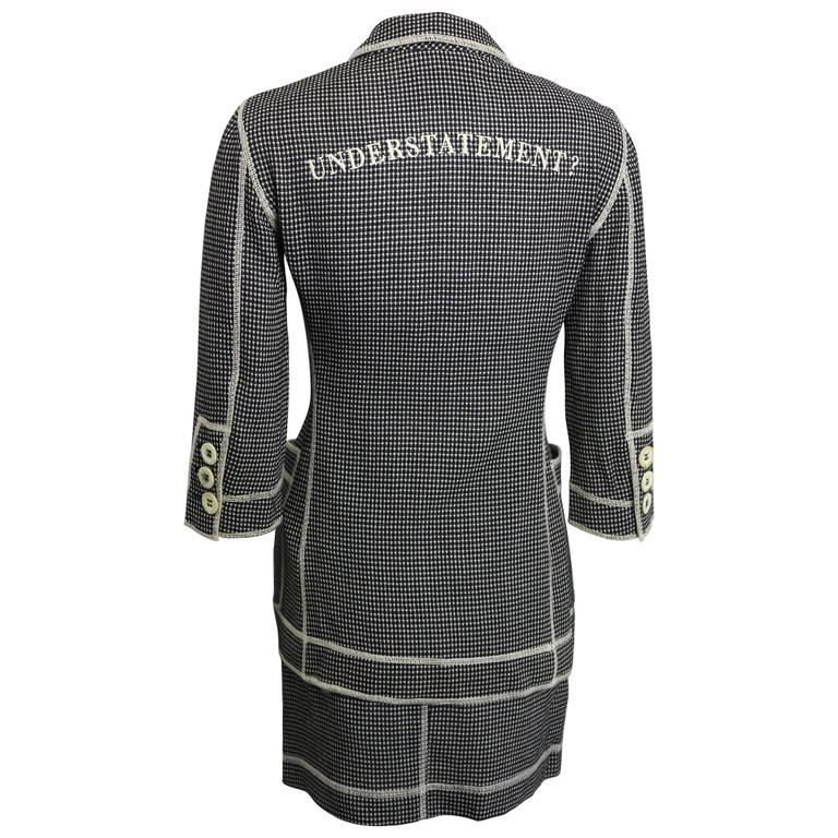 "Moschino Couture Black and White ""Understatement"" Jacket and Skirt Ensemble For Sale"
