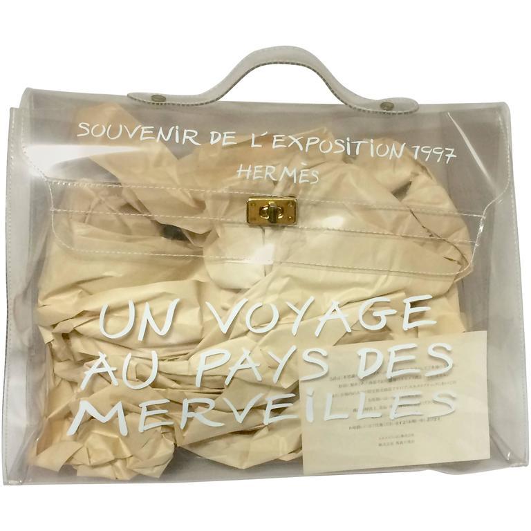 063c698661804 ... new style 97 vintage hermes rare transparent clear vinyl kelly bag  japan limited edition for sale
