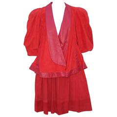 New Wave 1980's Lipstick Red Suede Leather Skirt Suit With Swing Jacket