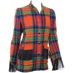 Yves Saint Laurent Check Wool Jacket with Leather Fringes and Enamel Buttons