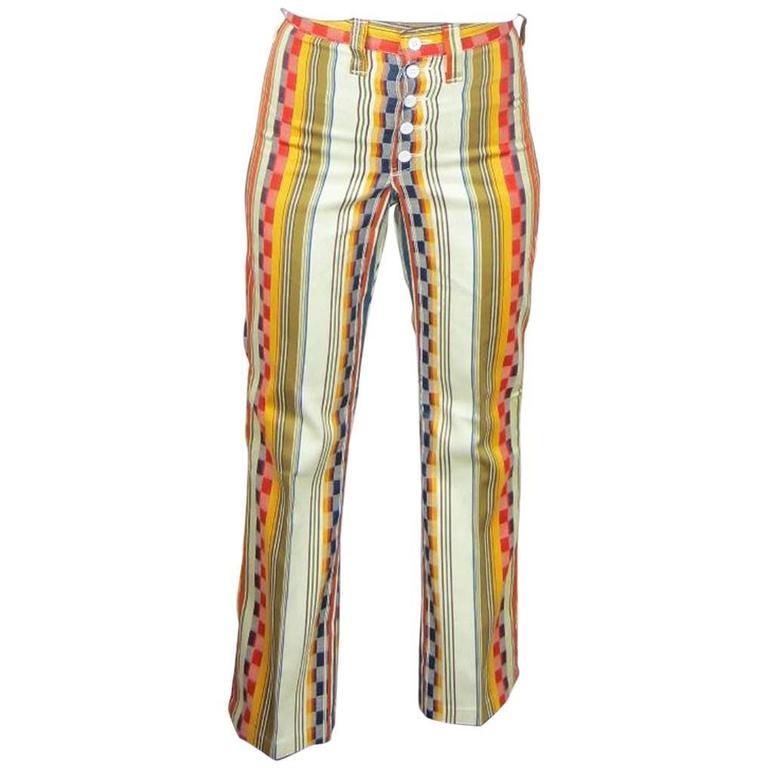 1960s Vintage Funky Hippie Wrangler Striped Pants New