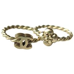 Chanel Gold CC Camellia Stack Rings