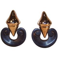 C.1990 Patricia Von Musulin Ebony Wood & Vermeil Sterling Door Knocker Earrings