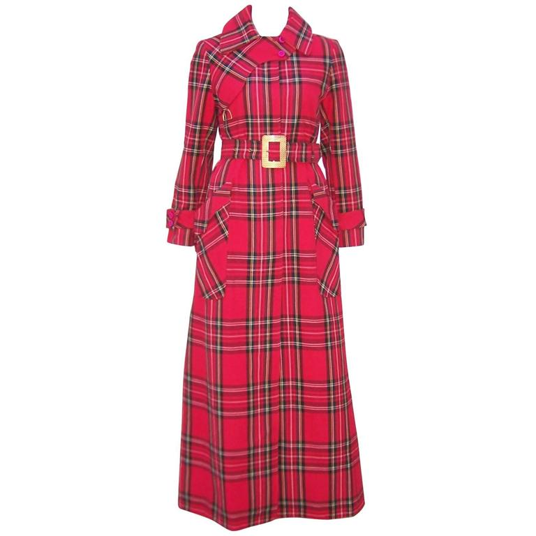 Punk and Prep 1970's Red Plaid Maxi Trench Coat at 1stdibs