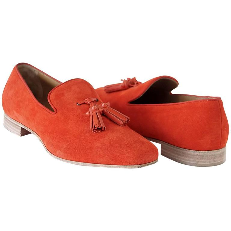 Christian Louboutin Men's Very Beautiful Red Suede Loafer Spike Tassels  42 / 9 For Sale