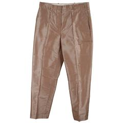 HERMES PARIS Beige Shantung Silk TAILORED TROUSERS Pants Size 36