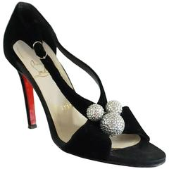 Christian Louboutin Black Velvet Sandals with Rhinestone Cluster - 36.5