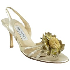 Jimmy Choo Gold Leather Sandals with Rose Front - 36