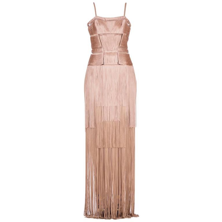 Versace Nude Fringe Gown For Sale