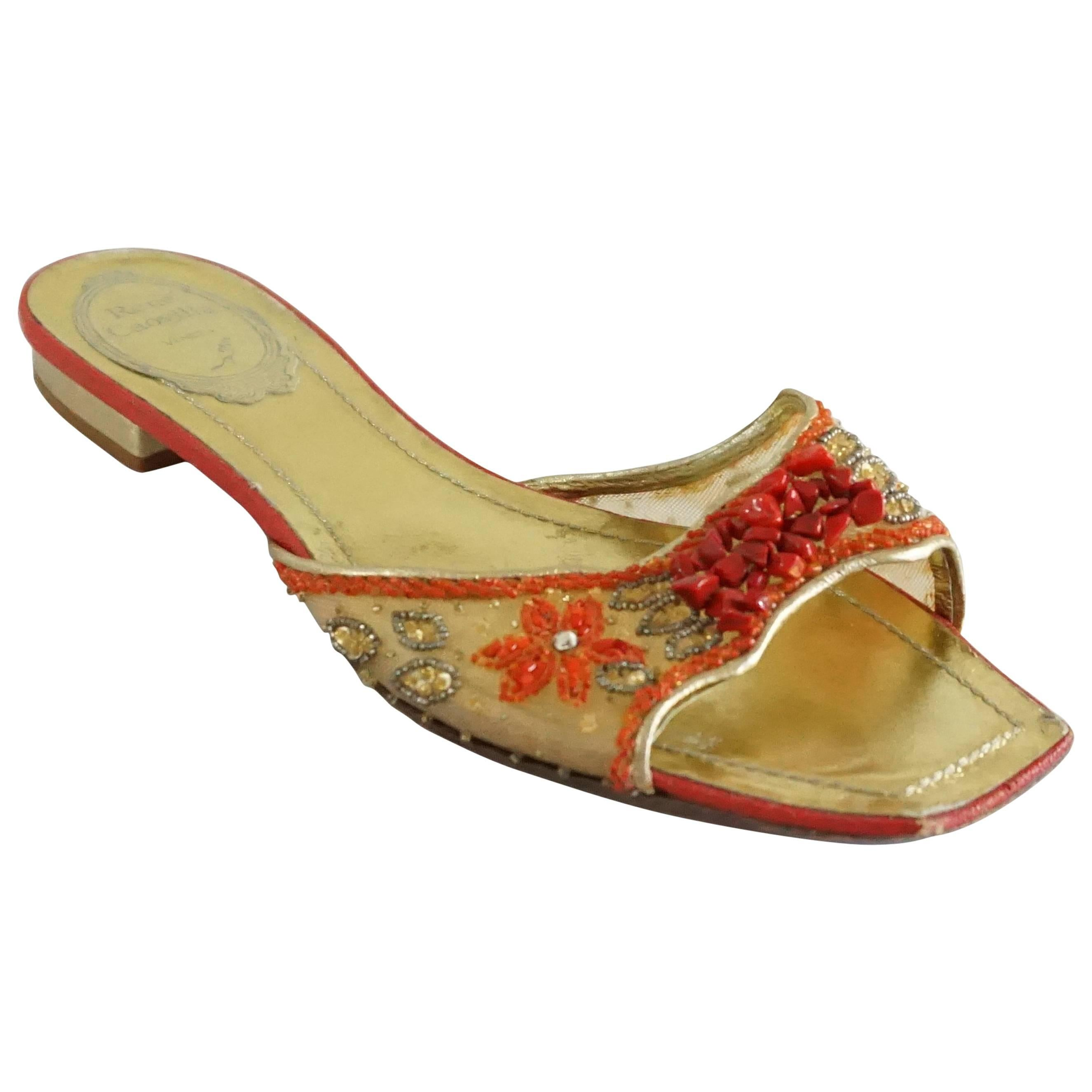 Rene Caovilla Gold and Red Mesh Beaded Slides - 36