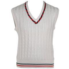 GUCCI VINTAGE White Wool Blend SLEEVELESS JUMPER Vest SIZE 46