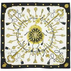 Hermes White, Black, and Gold Key Print Silk Scarf