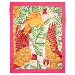 Hermes Pink and Orange Parrot Print Silk Scarf