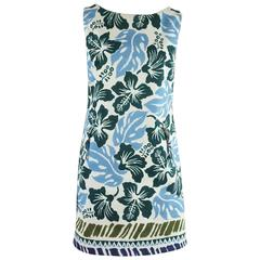 Prada Blue and White Hawaiian Flower Print Dress - 46