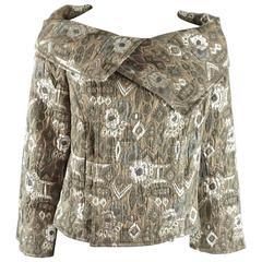 Oscar de la Renta Taupe Metallic Brocade Jacket - 8