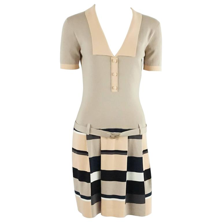 Fendi Taupe and Peach Cotton Knit Dress - 42