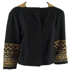 Dries Van Noten Black Cotton Blend Jacket with Wood Beading - 36