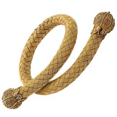 Antique 18kt Gold Mesh Woven Snake Bracelet