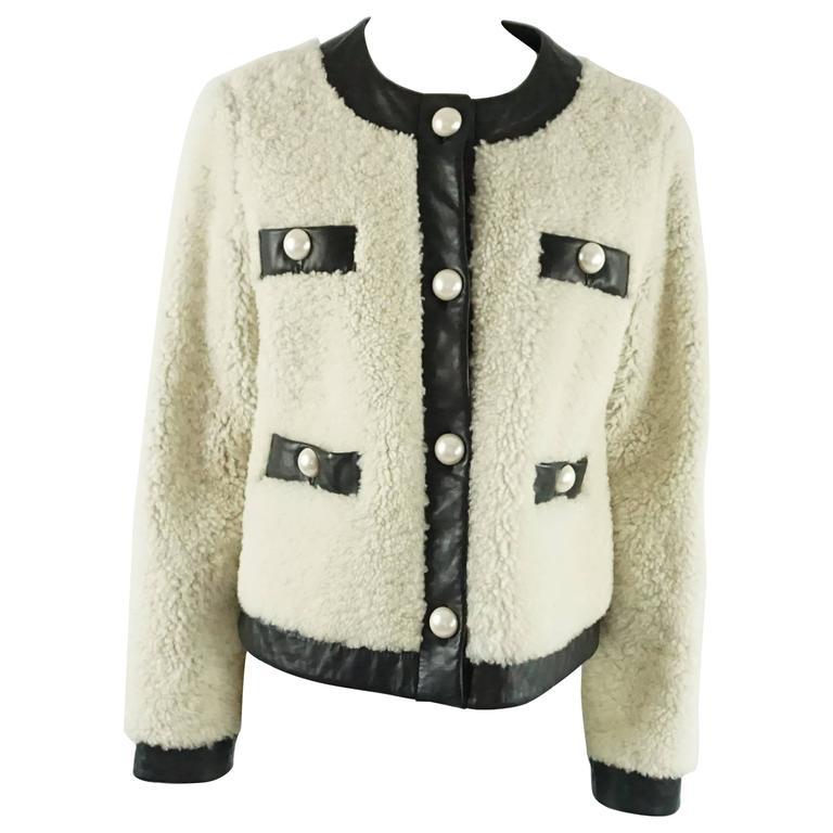Moschino C&C Shearling and Leather Jacket with Pearl Buttons - 8