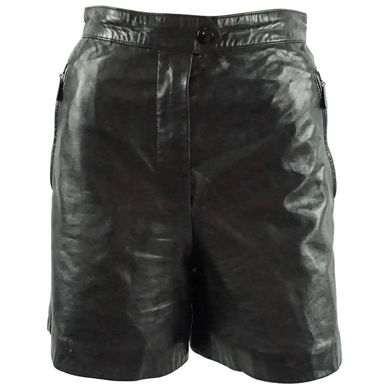 Escada by Margaretha Ley Black Leather Shorts - 38 - 1980's  For Sale