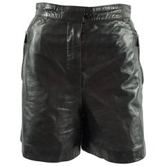 Escada by Margaretha Ley Black Leather Shorts - 38 - 1980's
