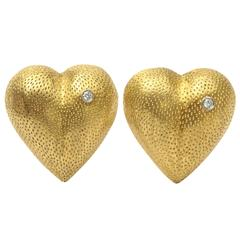 Vintage  Tiffany Heart Form Stippled 18 kt Gold and Diamond Clip Earrings