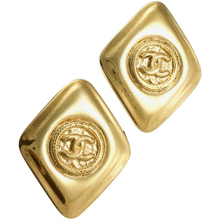 1980's Chanel Gold-Plated Lozenge-Shaped Logo Earrings 1