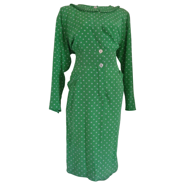 Valentino Miss V Green white pois Dress